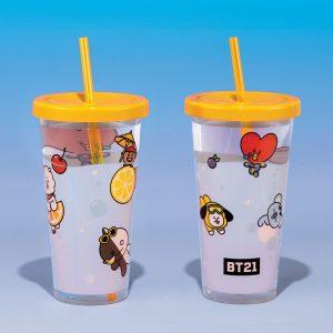 Чаша със сламка BT21 Logo BTS